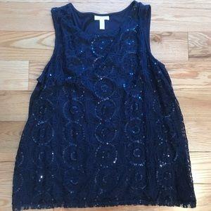 Blue sequins top size L